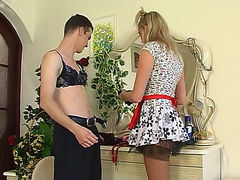 Horny sissy guy approached by a strap-on armed maid eager to poke his ass